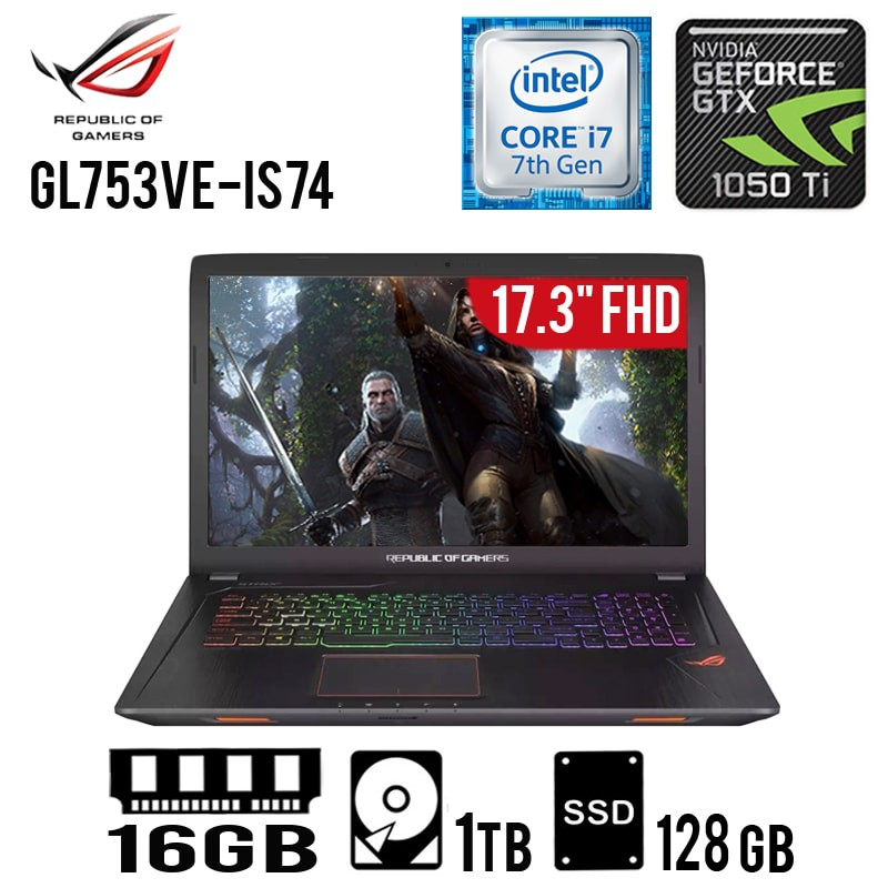 "LAPTOP ASUS ROG STRIX GL753VE-IS74 INTEL CORE I7-7700HQ 16GB 1TB+128SSD GTX1050TI 4GB 17.3"" FHD WIN10"