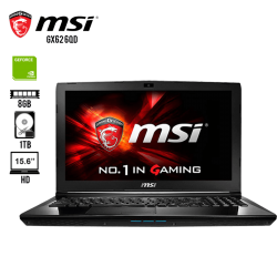 "Laptop Gamer MSI GX62 6QD Core I5-6300HQ, 8GB RAM, 1TB DD, T.Video NVidia GeForce 940MX, DVD Super Multi, 15.6"" HD, Windows10"