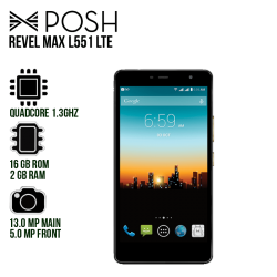 "Smartphone Posh Revel Max L551 LTE, Quadcore 1.3 GHZ, Android 6.0, 5.5"" HD IPS, 2GB RAM, Cámara Post.13Mpx, Cámara Frontal 5Mpx"